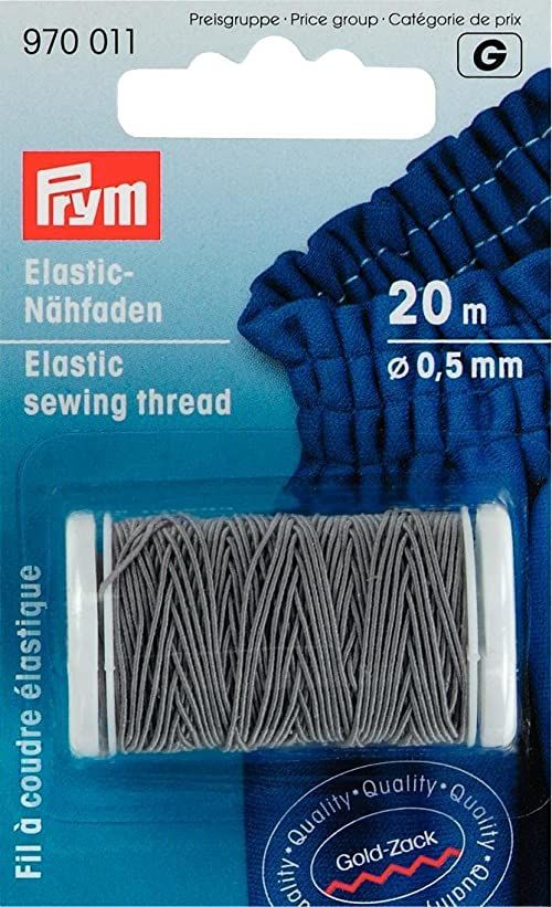 PRYM Elastyczna nić do szycia, 0,5 mm, 20 m, jasnoszara