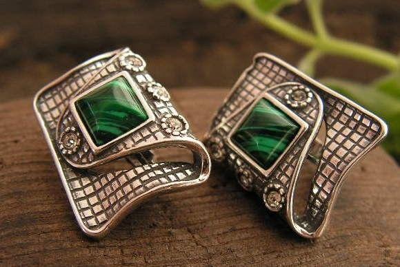Pappa - srebrne kolczyki malachit z kryształkami