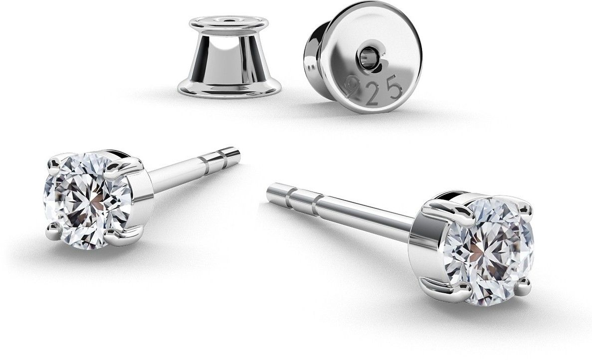 Srebrne kolczyki z cyrkoniami Swarovski 3mm, srebro 925 : Srebro - kolor pokrycia - Pokrycie platyną