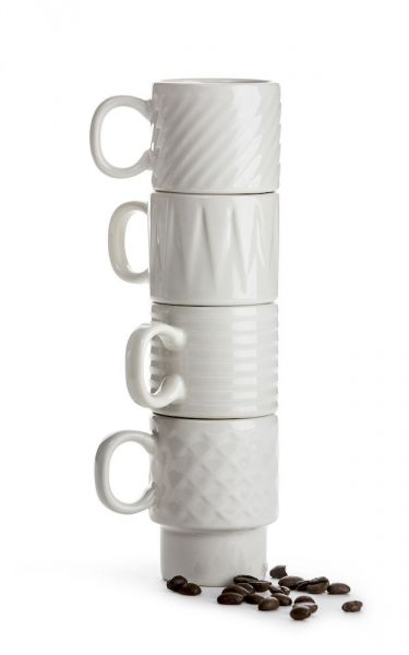 Sagaform COFFEE RETRO Filiżanki do Kawy Espresso 100 ml 4 Szt. Białe