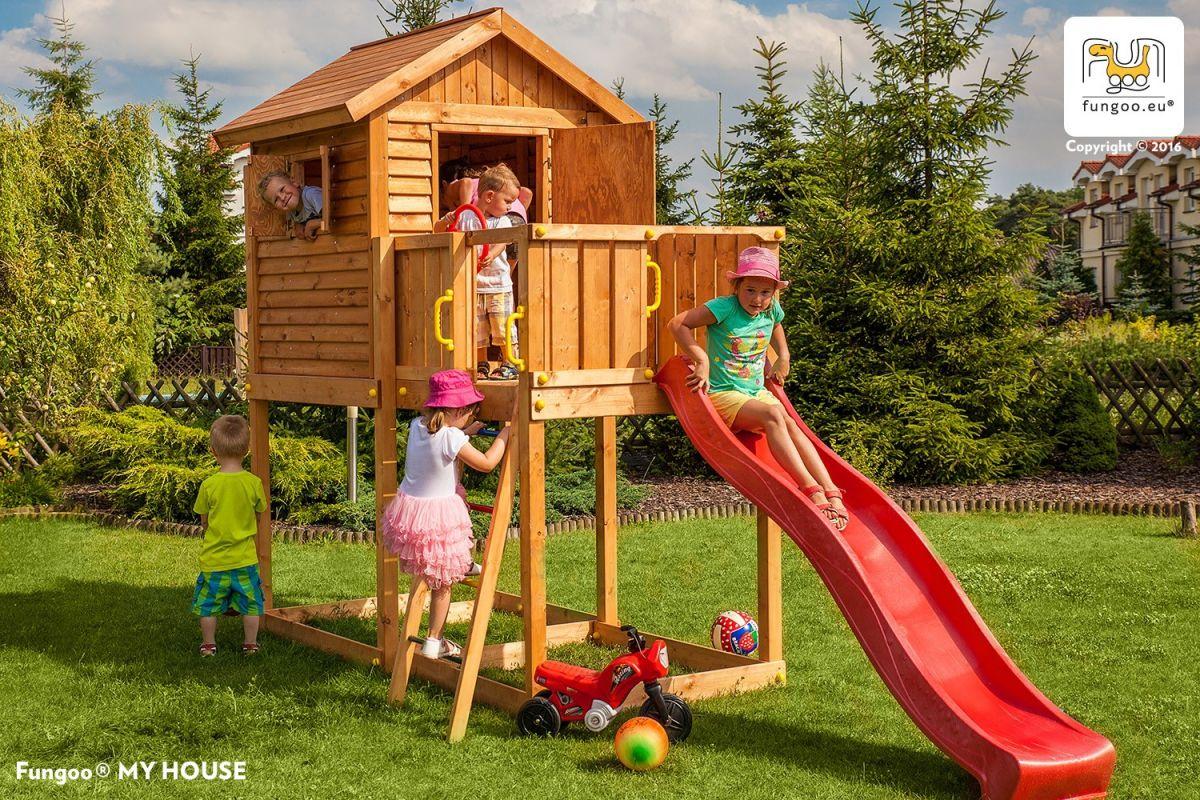 Domek świerkowy dla dzieci FUNGOO MY HOUSE /teak/