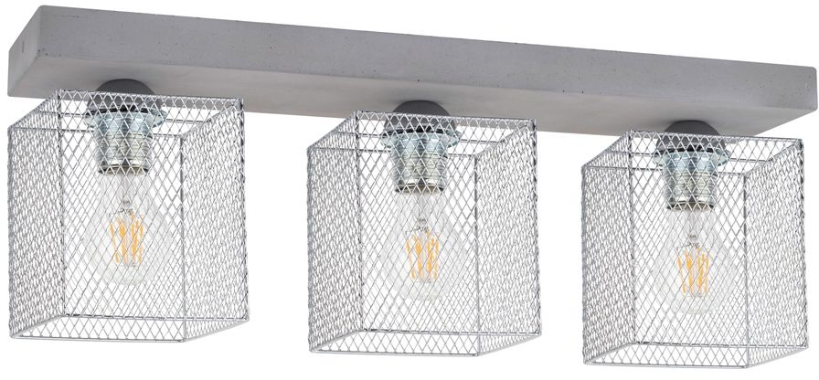 Spot Light 8172336 Gittan plafon lampa sufitowa beton szary klosze prostokątne chrom siatka 3xE27 60W 55cm