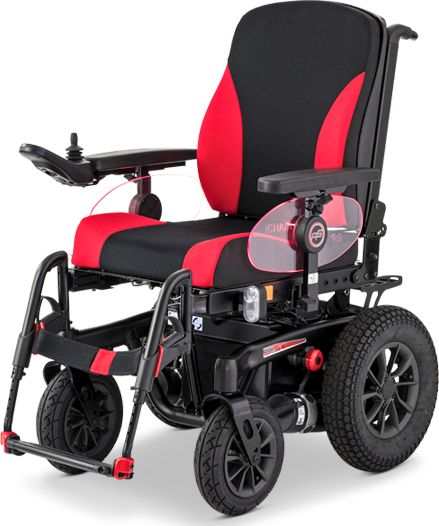 Elektryczny wózek terenowo-pokojowy z anatomicznym siedziskiem ErgoSeat - elektronika R-NET z wyświetlaczem LED + pas bezpieczeństwa + bagażnik rurkow