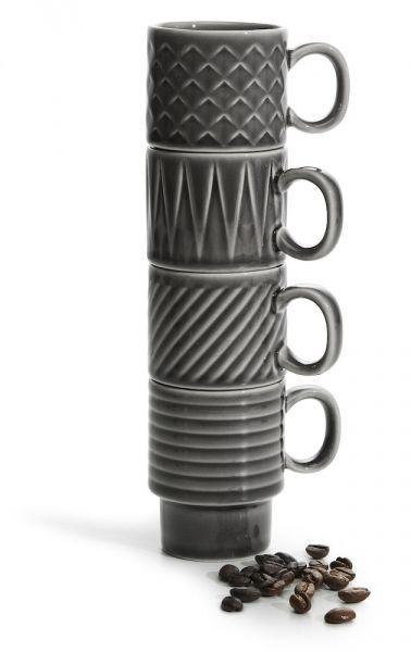 Sagaform COFFEE RETRO Filiżanki do Kawy Espresso 100 ml 4 Szt. Szare