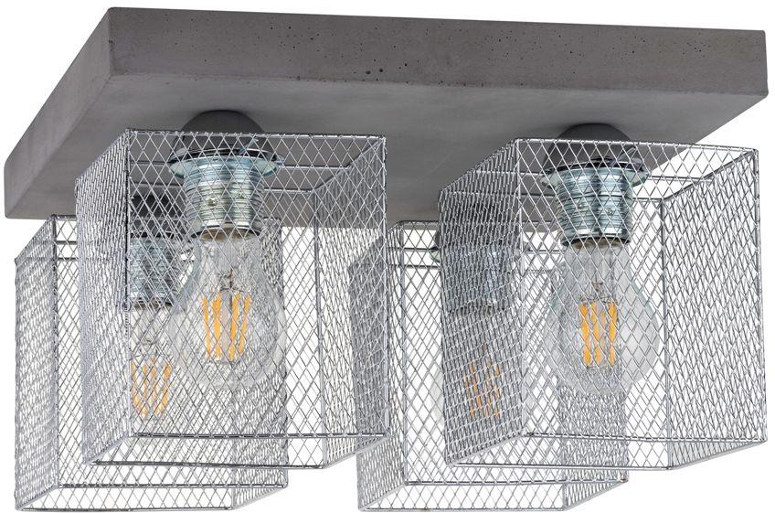 Spot Light 8172436 Gittan plafon lampa sufitowa beton szary klosze metalowe chrom 4xE27 60W 34cm