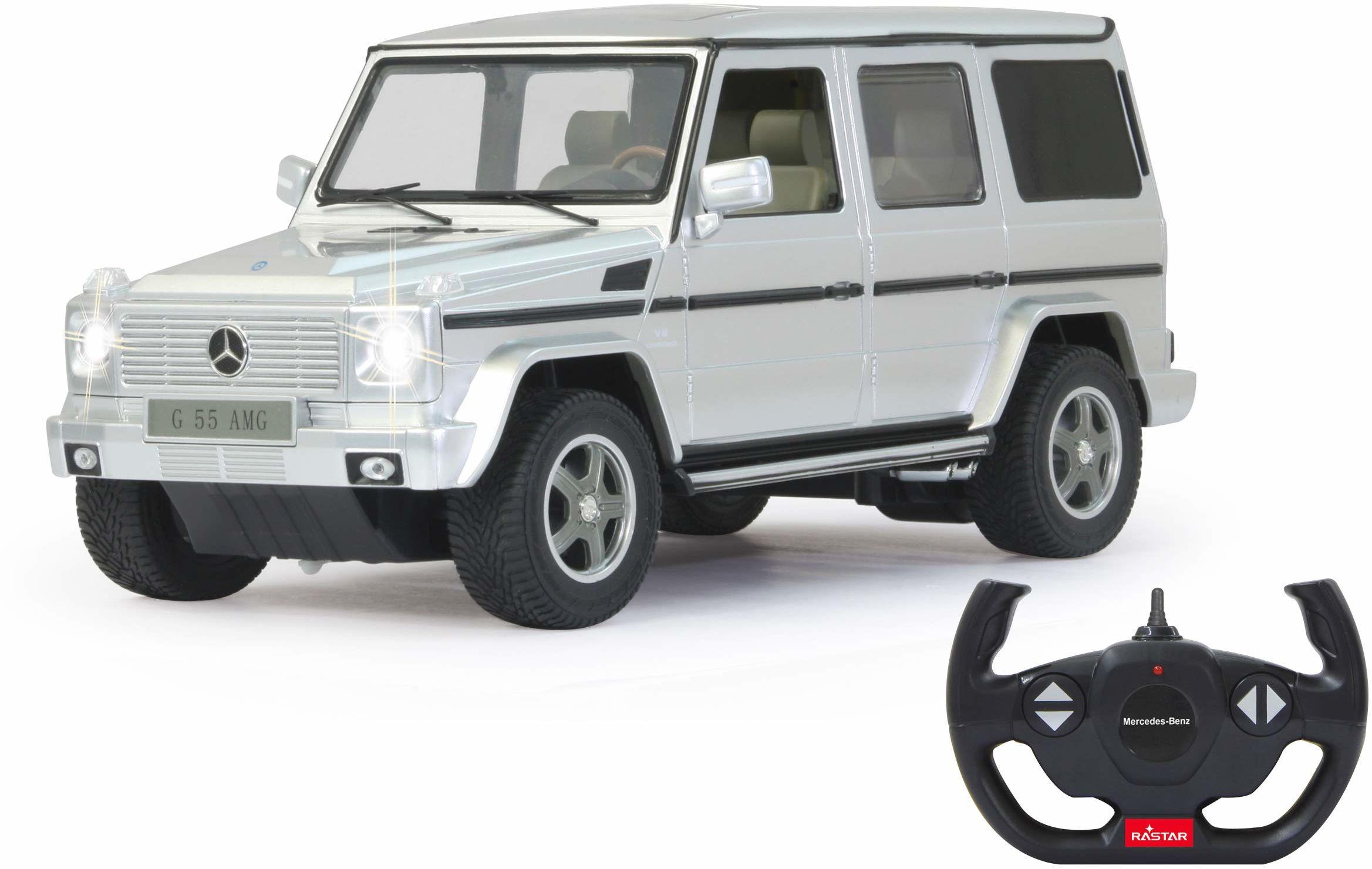 Jamara 403911 Mercedes-Benz G55 AMG 1:14 40 MHz, oficjalnie licencjonowana, do 1 godz. czasu jazdy przy 11 km/h, LED, idealnie odwzorowane szczegóły, szczegółowe wnętrze, wysokiej jakości wykonanie
