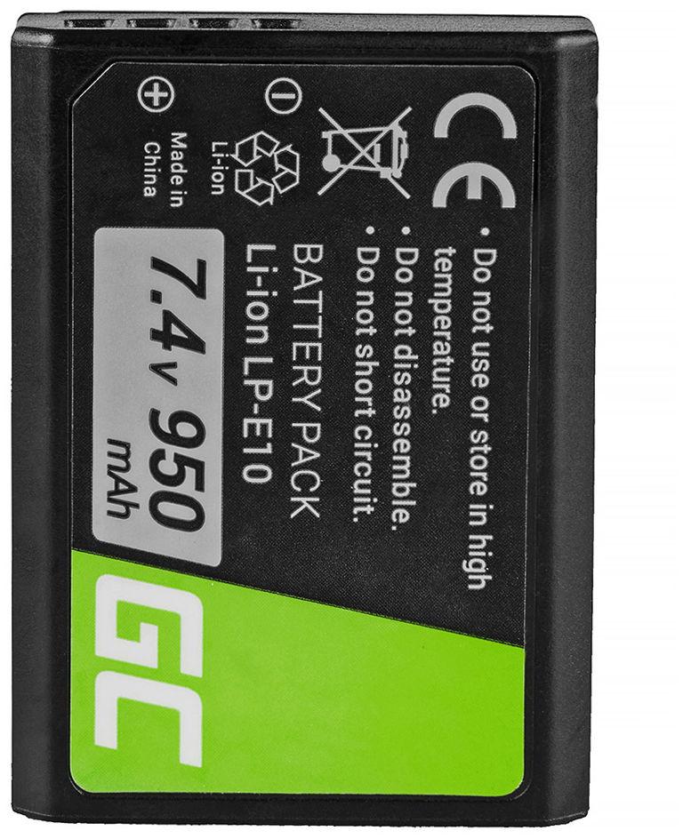 Akumulator Bateria Green Cell  LP-E10 LPE10 do Canon EOS 1100D 1200D 1300D Rebel T3 T5 T6 Kiss X50 X70, 7.4V 950mAh