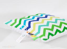 MAMO-TATO Poduszka Minky dwustronna 40x40 Zygzak niebiesko-zielony / biały