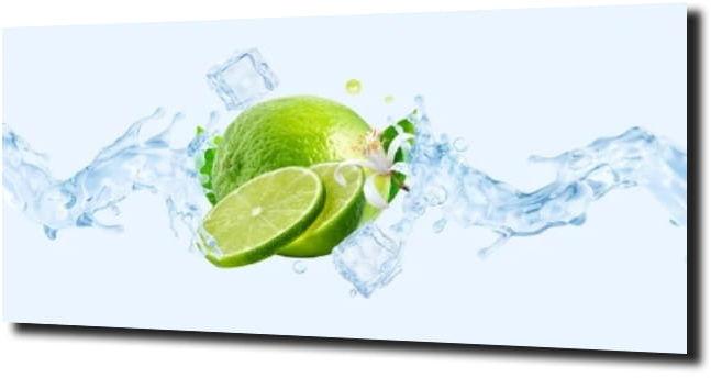 obraz na szkle Limonka woda lód