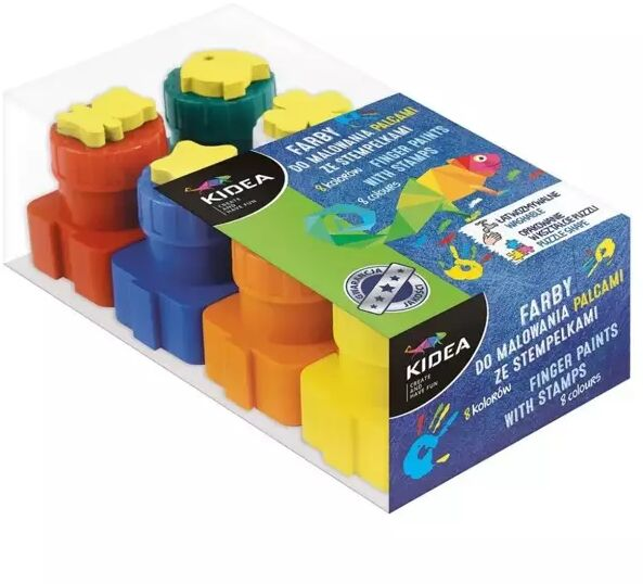 Farby do malowania palcami ze stemplami 8szt KIDEA