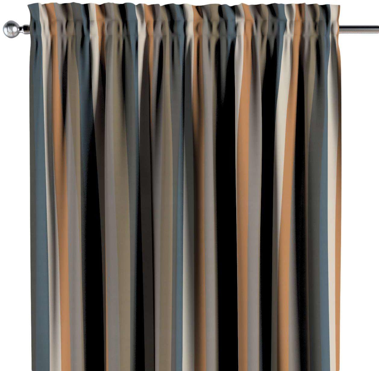 Zasłona na kanale z grzywką 1 szt., kolorowe pasy w rudo-brązowo-niebieskiej kolorystyce, 1szt 130  260 cm, Vintage 70''s