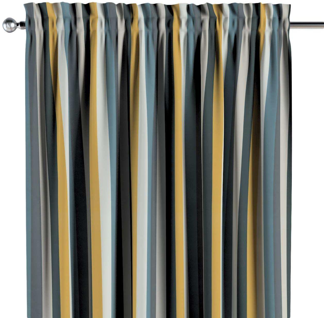 Zasłona na kanale z grzywką 1 szt., kolorowe pasy w niebiesko-żółto-szarej kolorystyce, 1szt 130  260 cm, Vintage 70''s