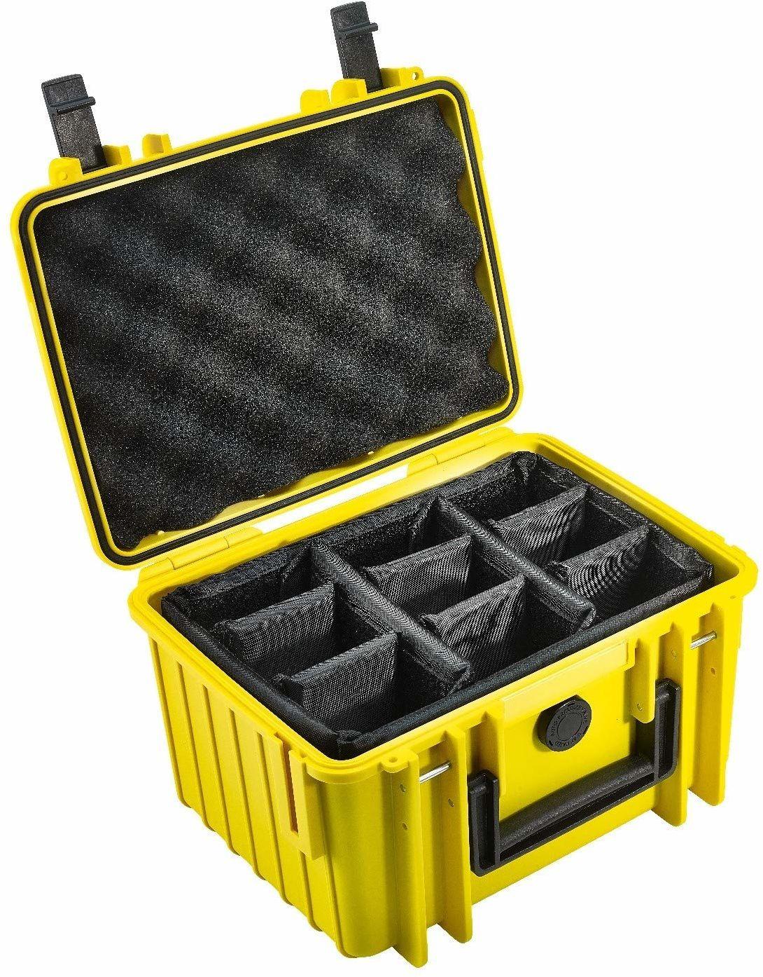 B&W Outdoor Case pokrowiec twardy typ 2000 z przegródką, możliwość dostosowania (twarda walizka IP67, wodoszczelna, wymiary wewnętrzne 25 x 17,5 x 15,5 cm, żółty)