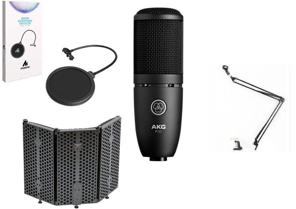 AKG P120 - mikrofon pojemnościowy + statyw + ekran akustyczny + pop filtr