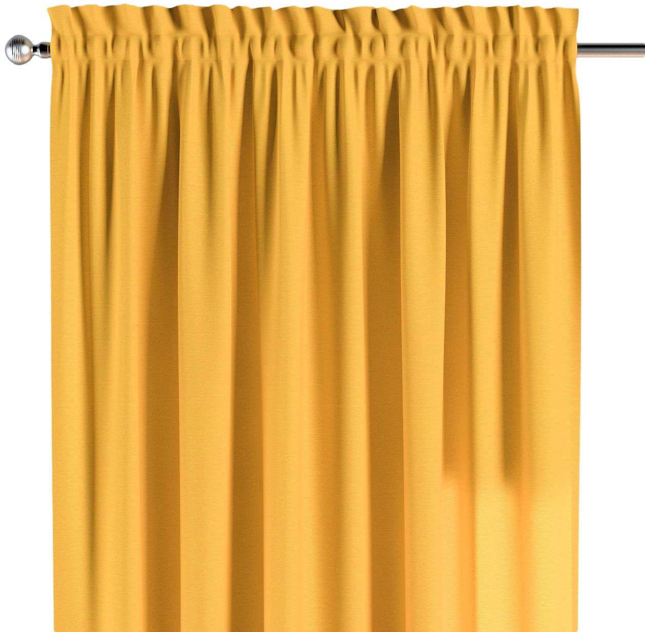 Zasłona na kanale z grzywką 1 szt., żółty, 1szt 130  260 cm, Loneta