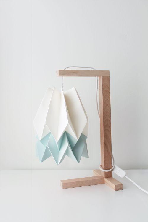 Lampa stołowa Table Polar White/Mint Blue Orikomi biało-niebieska oprawa w minimalistycznym stylu