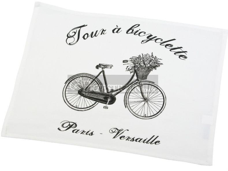 DWIE SERWETY OZDOBNE FRENCH HOME - Bicyclette - Rower BIEL