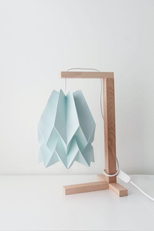 Lampa stołowa Table Mint Blue Orikomi niebieska oprawa w minimalistycznym stylu
