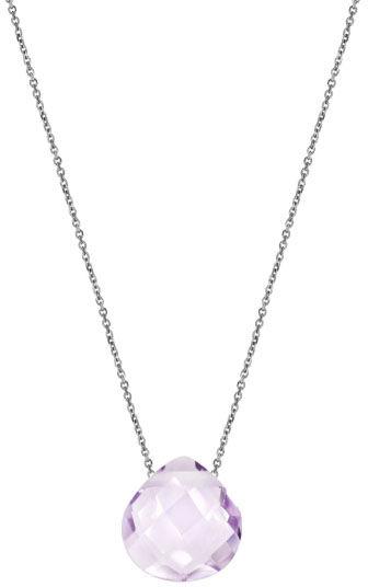 Srebrny naszyjnik 925 kamień ametyst lila Serce