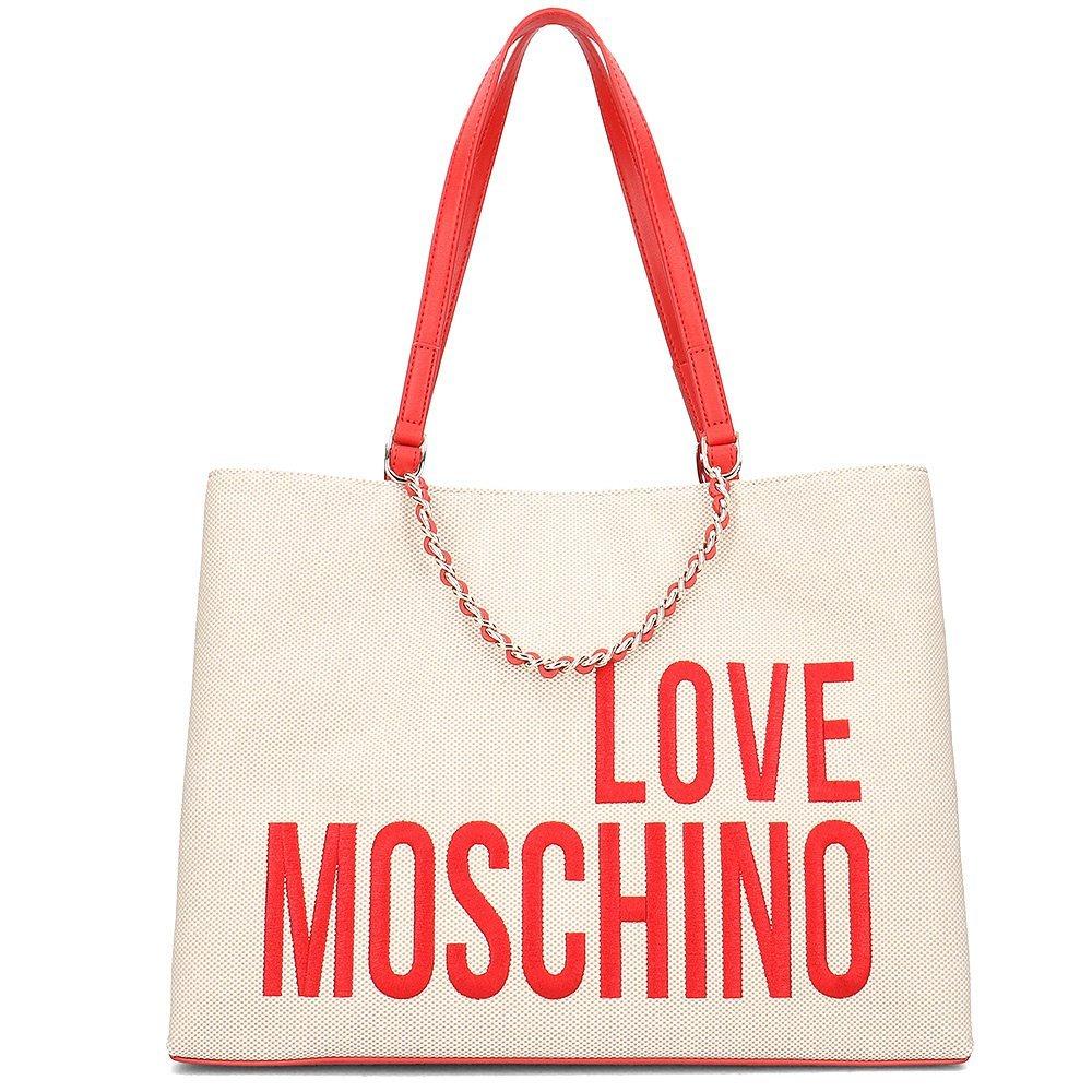 Love Moschino Canvas Embroidery - Torebka Damska - JC4112PP17LO0107 - Beżowy