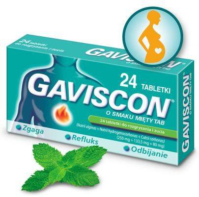 Gaviscon 250 mg + 133,5 mg + 80 mg o smaku mięty tabletki 24 sztuk