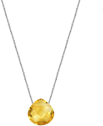 Srebrny naszyjnik 925 serce kamień cytryn