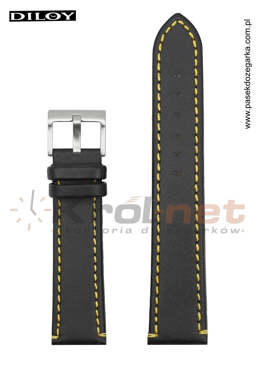 Pasek 372/01/10/18 - czarny, żółte przeszycia