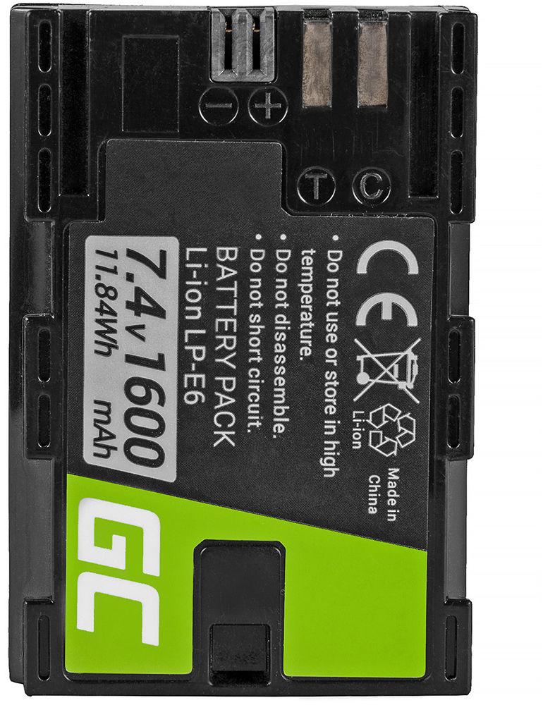 Akumulator Bateria Green Cell  LP-E6 LP-E6N do Canon EOS 5D 6D 7D 60D 60DA MARK II MARK III. Full Decoded 7.4V 1600mAh