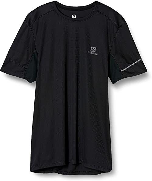 SALOMON męska zwinna koszulka sportowa z krótkim rękawem, podwójna koszulka Czarny M