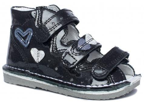 BARTEK 11637/5-V083 kapcie / sandały, sandałki profilaktyczne dziewczęce multi czarny