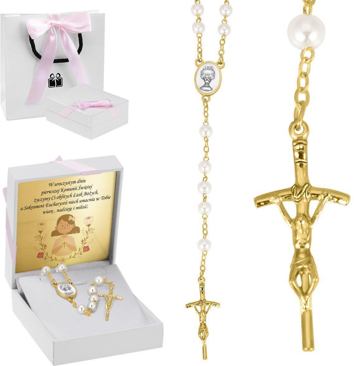 Różaniec perełowy kolor złoty Chrzest Komunia Dedykacja