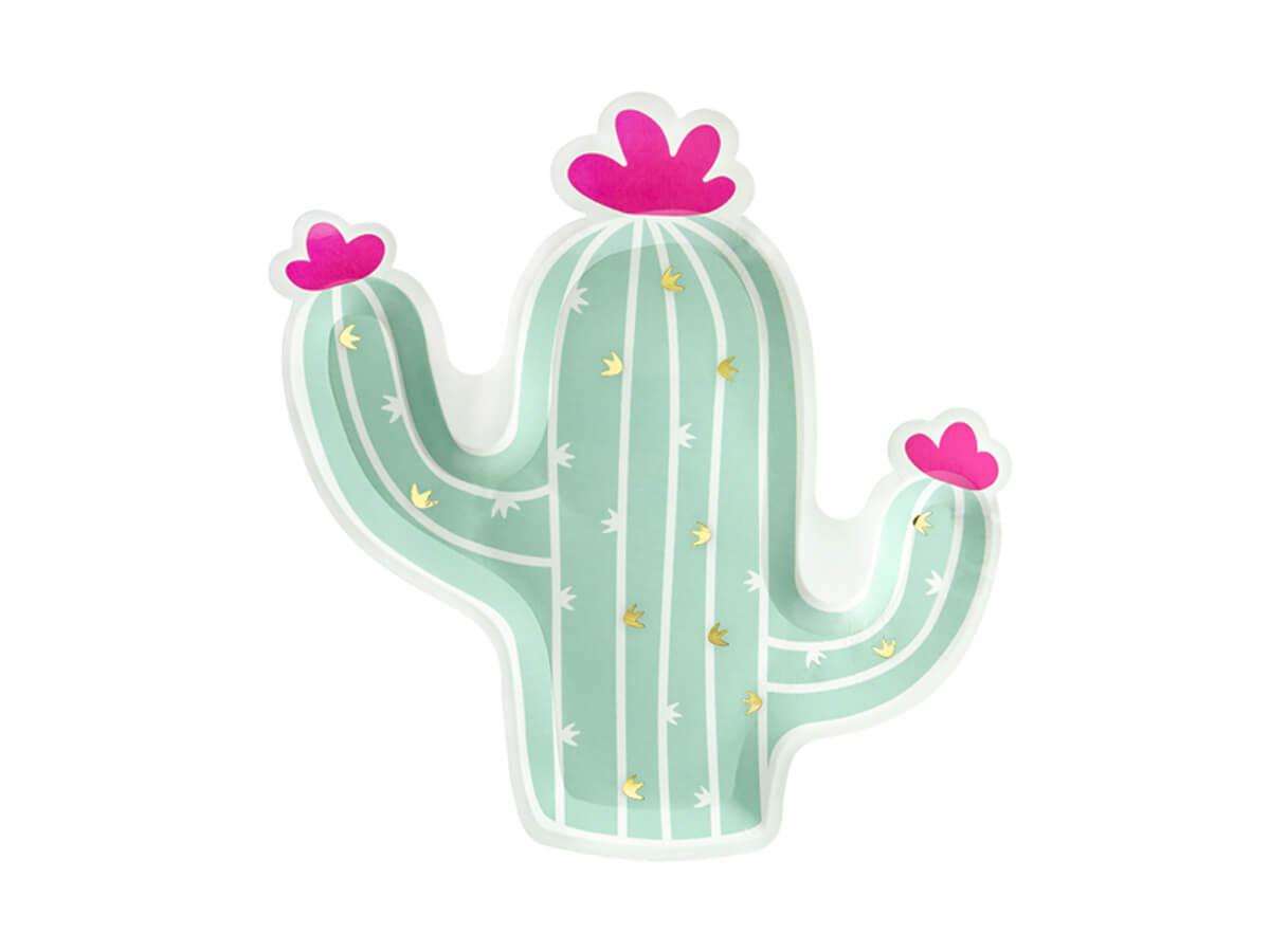 Talerzyki papierowe Kaktus - 6 szt.