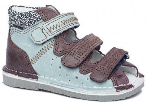 BARTEK 11638/5-V010 kapcie / sandały, sandałki profilaktyczne dziecięce - niebiesko brązowy