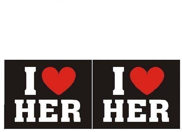 NAKLEJKI na wesele I Love Her 2 szt nb2