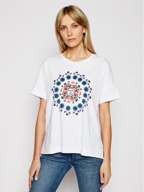 Desigual T-Shirt Galactic Now 21SOTK26 Biały Oversize