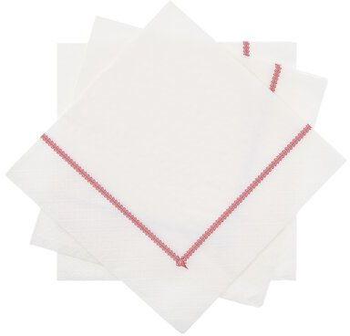 Serwetki papierowe DUKA RIVIERA 20 sztuk 33x33 cm czerwone białe