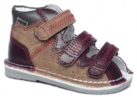 BARTEK 11638/5-V021 kapcie / sandały, sandałki profilaktyczne dziecięce - bordowo beżowy