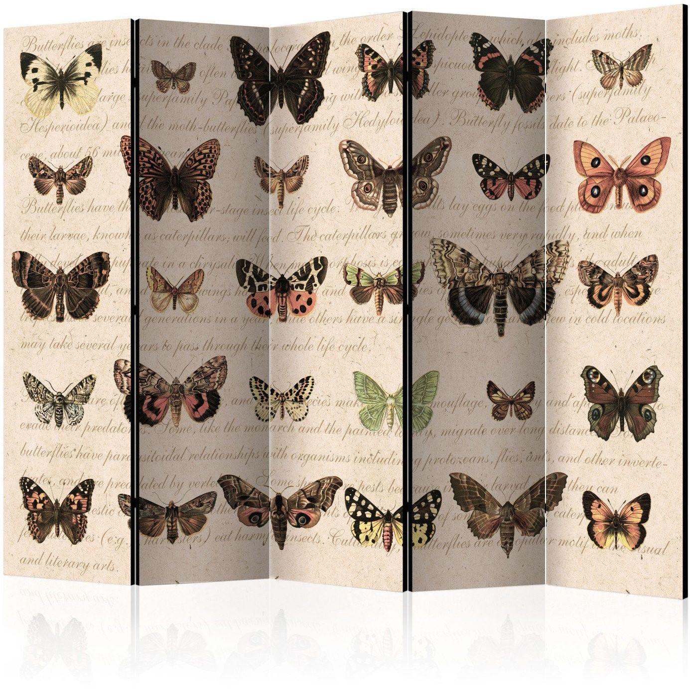 Parawan 5-częściowy - styl retro: motyle ii [room dividers]