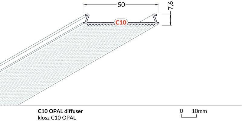 klosz C10 OPAL do profili PHI53, LOWI 1m