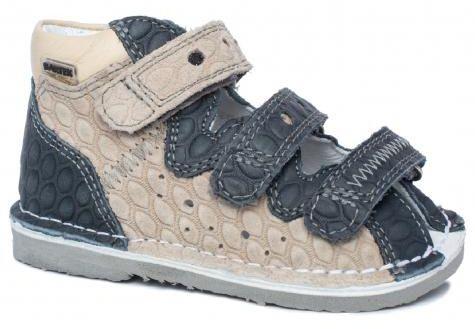 BARTEK 11638/5-V028 kapcie / sandały, sandałki profilaktyczne dziecięce - granat beż