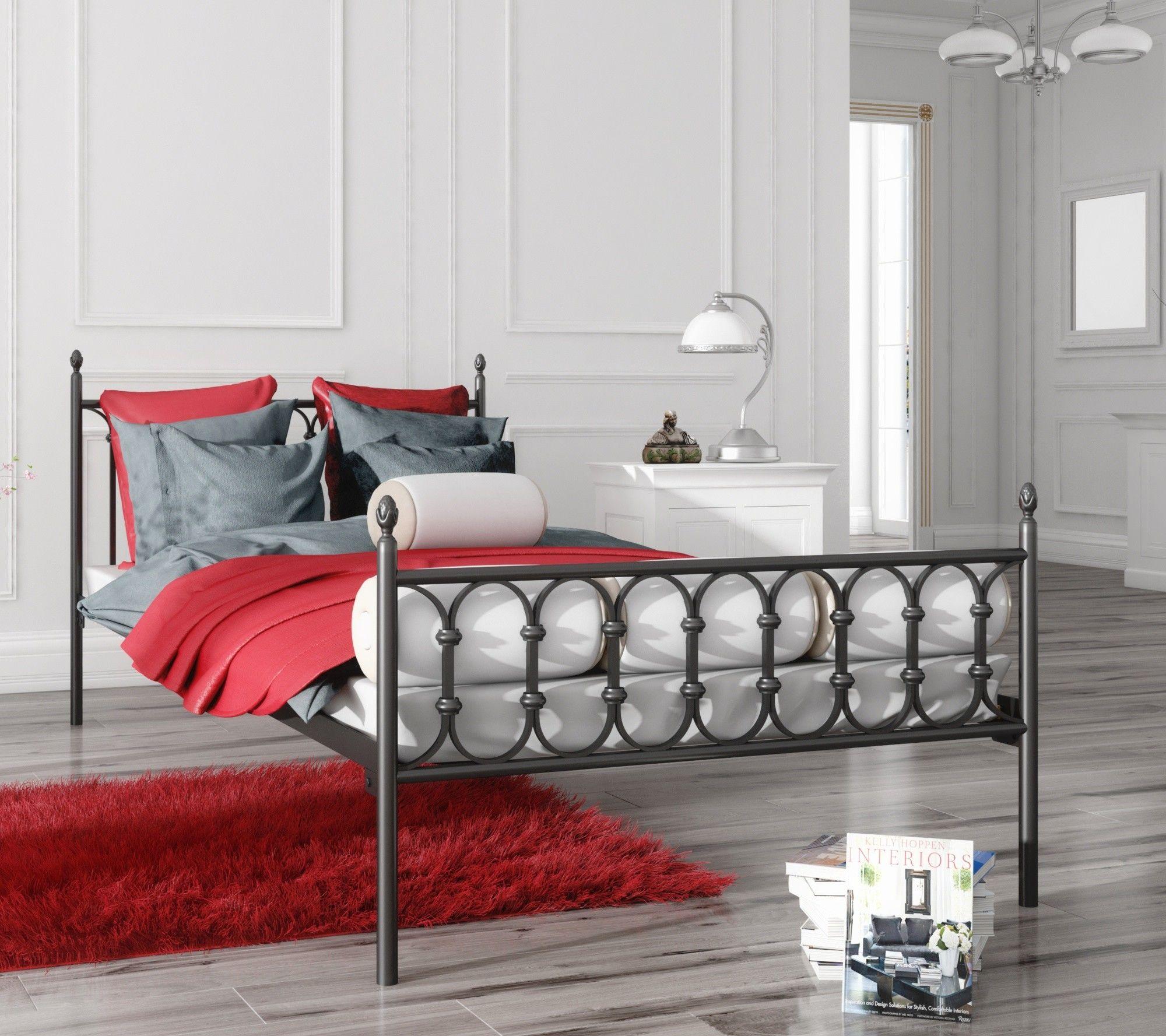 Łóżko metalowe podwójne 160x200 wzór 8 ze stelażem