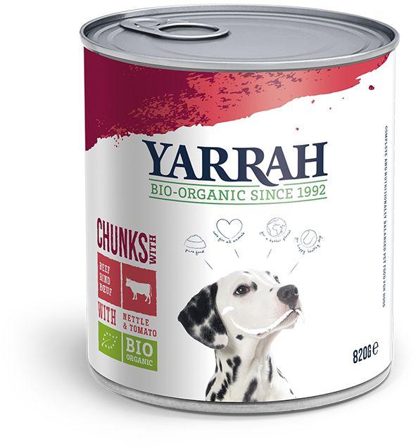 Dla psa dorosłego karma z wołowiną pokrzywą i pomidorem bio 820 g - yarrah
