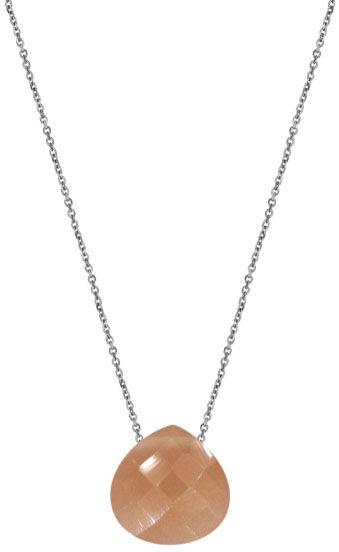 Srebrny naszyjnik 925 serce kamień księżycowy