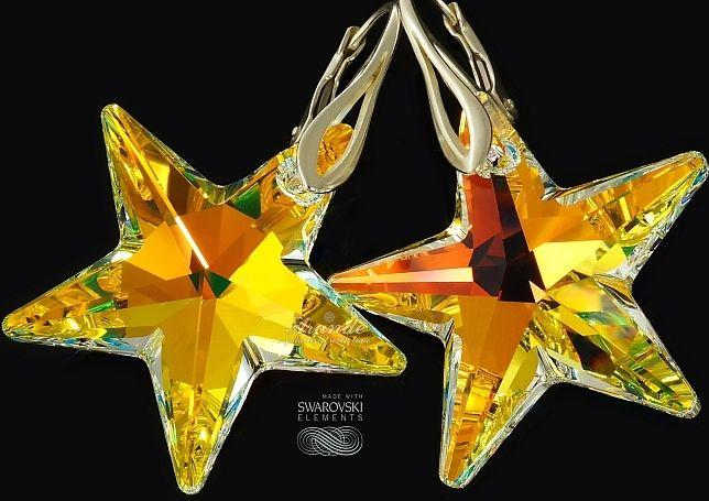 SWAROVSKI przepiękne kolczyki AURORA STAR SREBRO