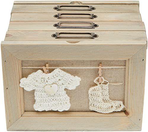 Better & Best Box ramka na zdjęcia z 4 szufladami z motywem skarpetek, drewno i bawełna, beżowa naturalna, 18,5 x 14 x 13,5 cm