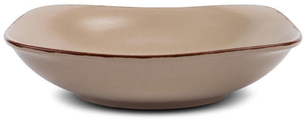 Talerz ceramiczny kwadratowy BROWN SUGAR obiadowy głęboki na zupę 23 cm