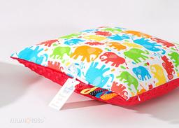 MAMO-TATO Poduszka Minky dwustronna 40x40 Słonie kolorowe / czerwony