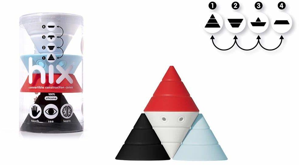 Moluk 2843384 Hix, zabawka konstrukcyjna, klocki z miękkiego silikonu, zabawka edukacyjna, Nordic Colors, od 0+ miesięcy