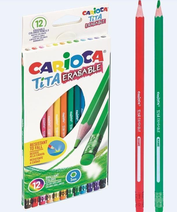 Kredki ołówkowe wymazywalne z gumką, 12 kolorów