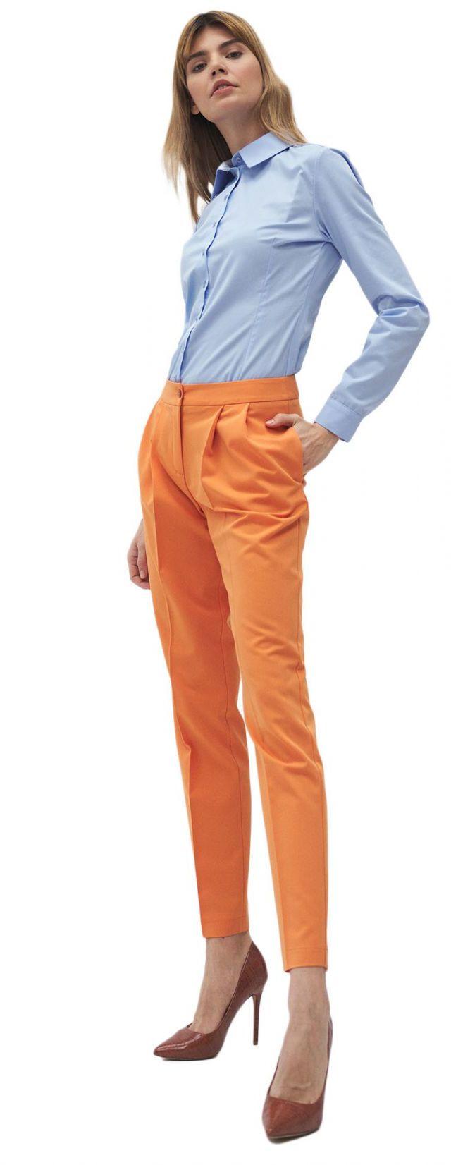 Pomarańczowe spodnie z zakładką - SD59
